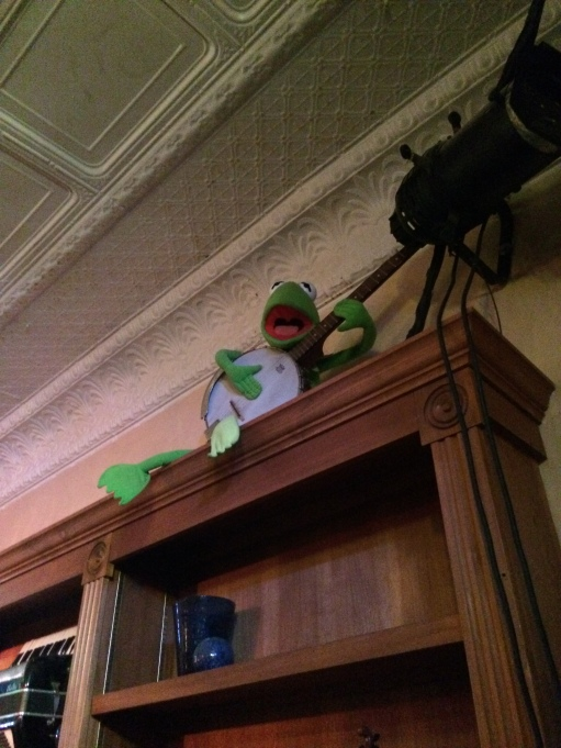 Kermit playing banjo...The Purple Fiddle, Thomas, WV.